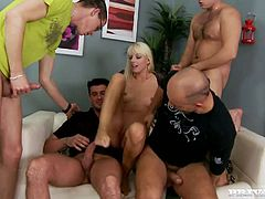 This playful and horny porn actress Lena Cova gets surrounded by three men and they make her feel so fucked up! Though she loves it! Nice gangbang to watch!