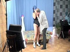 Grandma is at a photo session, but the only thing she can think of is sucking her photographer's cock. She reveals her saggy boobs and gets what she wants. Granny never could help herself not to suck cock and seeing this old guy's big, hairy dick made her drool for semen. See what else the old whore does.