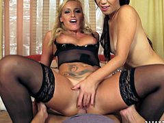 Are you a fan of threesome? Then this 21 Sextury sex clip is surely to your taste. Wondrous brunette and blondie in black lingerie demonstrate their cock riding skills and get their assholes polished tough.