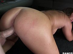 A dirty fucking whore sucks on a hard prick and then gets fucking nailed hard in the back seat, check it out right here.