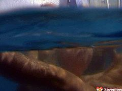 Three playful amateur chics get into the pool for steamy lesbian games. They start stroking each other's snatches with hands under water in peppering sex video by Seventeen Video.