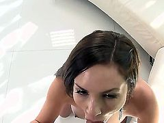 Beautiful girl with sappy body Amy Reid is relaxing in a swimming pool in bikini and without it. She shows delights to man trying to seduce him to screw. See continuation.