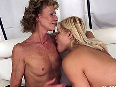 Young blond head with sweet pale tits goes nuts about hot sex. Amazing chick is a horny lesbo, who thirsts to eat and tickle the wet juicy pussy of old perverted and curly bitch right on the couch.