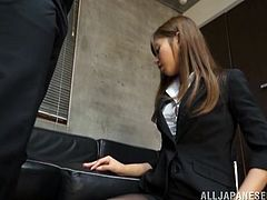 She gives her best at work and if that means to kneel and suck cock, then this cutie will do so, for the good of the company. Look at her, so sweet and innocent, she kneels with pride in front of a hard dick and sucks it flawless. Then the guy grabs her pretty head and shovels his dick deep in her throat!