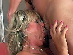 Voracious mature mommy is riding hard young cock in a dirty old young porn video