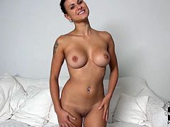 Are you looking for the most appetizing brunette? She is right here. Enjoy her plump tits and luscious ass. She teases you with her supple body.
