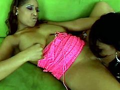 These two dark-skinned lesbians can't resist the temptation to taste each other's wet snatches. Check out this passionate lesbian sex scene now to see what else these naughty babes are up to.