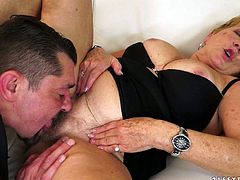 Voracious granny with chunky body loves young studs with hard long lasting cocks. So she enjoys having passionate oral sex with thirsty dude. He eats her clam dry.