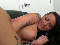Black haired pretty chick Christy Mack with many cheep colorful tattoos and big round hooters gets naked at the interview and teases with delicious ass in point of view.