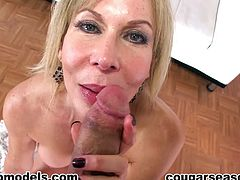 Mature likes to slide her warm lips deep over huge dick in nasty POV blowjob scene