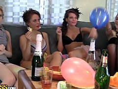 A lot of drunk lesbian babes are dancing and touching each other at the birthday party. Don't skip exciting sex tube video from WTF Pass porn site.