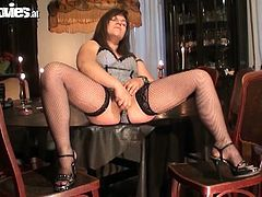 Viola Pierron is a horny German amateur in sexy stockings. She is a bit chubby, but spreads her legs and starts toying her pussy till an orgasm!