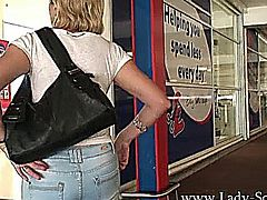 Lady Sonia out and about, hot blonde mature