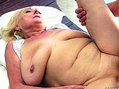 Nasty blonde granny lies on a bed with her legs opened. Some dude fucks her hard in old vagina. When you want to fuck you don't care about degree of freshness of a pussy.
