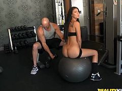 Dude, these girls know how to keep their gorgeous bodies in shape. These stunning babes with well-shaped asses seduce their fitness instructor to fuck them hard. No man can't resist these wondrous gals!