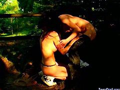 Check out these horny russian amateurs having fun in the woods. She takes his big cock in her mouth and then he fucks her tiny pussy!