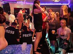 Two drunk whores pull each others hair and rub against each other in the pool of one dissolute club. Nasty nude whores dance and suck dicks on the dance floor. Join the hottest Tainster party for free.