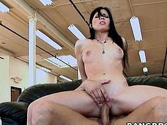 Brunette bitch sucks dick and gets fucking nailed