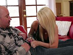 Helly is a psychotherapist, a fucking hot one too! The sensual blonde is carefully listening to Will's problems and decides that all he needs is a good, hard blowjob. The guy is about to leave but she makes him stay some more and earns her paycheck. The blonde takes out his massive dick and thrusts it in her mouth
