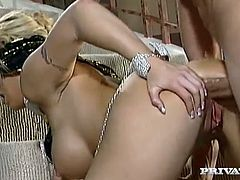 Busty blonde Brooke Haven is having fun with some guy on the stairs. She lets the man drill her butt doggy style and in cowgirl position and then gets cum on her tongue.