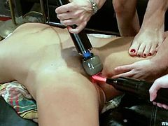 Ariel X, Lorelei Lee and two more chicks are having fun in a basement. One of the girls lets the others bind and hang her up and then gets her snatch fingered and toyed like never before.