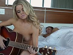 This babe plays on her guitar, but her guy wants to play too! He softly kisses her neck and makes her leave the guitar for his penis. The babe lays on her back, spreads her thighs and receives a mean pussy lick. Whereupon her tight pussy is stretched by his big dick and she moans with pleasure and pain.