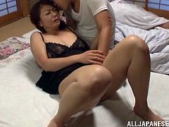 Busty Japanese mom Ayano Murasaki is trying hard to satisfy her hubby in a bedroom. She pets the man and then takes a crazy ride on his dick.
