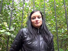 Rosalinda is a dark haired beauty that looks super sexy and cool wearing her leather jacket. I approach her and we start a conversation. Somehow I convinced her to jerk me off. After all, money talks. She undresses and wears nothing but her jacket and panties as she strokes my cock in the bushes.