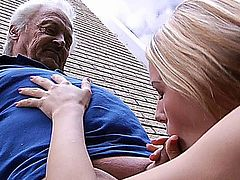 Young nasty Bernice splashed grandpa Gustavo with all the grass she cutted. Now she has to make it up with him and the best way to do it is by sucking his cock, licking his balls and giving her pussy to play with it