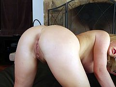 Horny blonde shakes the ass and fondles the pussy. Then she gives a titjob and gets fucked deep in her mouth. In the end she gets massive facial.