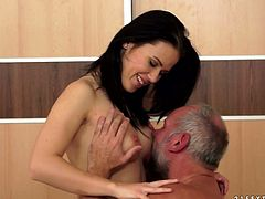 Extremely hawt brunette babe sucks dick of one fart with pleasure. She polishes his balls and gets her hard perky nipples and pussy licked.