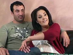 This husband is bored from his sex life and wants something new so he joined Screw My Wife Club and called our the guys so he can watch them fuck her brunette wife tight pussy.Even his wife is happy about it!