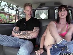 She entered the bang bus and now sits on the backseat, waiting to get fucked. Olivia has a booty, that demands cock and semen, so if she will be a good girl this guy will give her what she deserves. Keep on watching them, because things get hot around here and Olivia is already naked and horny!