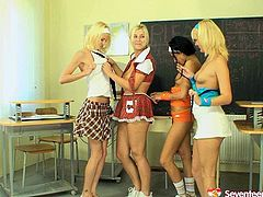 Skanky college girls go nasty and dirty in a lecture room having passionate teen lesbian foursome sex. They fuck right in front of their horny perverted teacher. He strokes his cock enjoying the view.