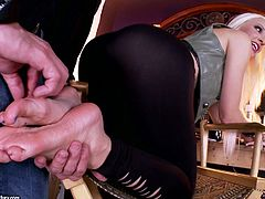 Attractive blonde model has got stunning body shape and smooth soles. Then is getting her tender tootsies suckled and licked. Later she rubs hard stick with her feet giving awesome professional footjob.