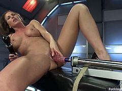 There's pussy fisting, anal fucking and more in this lesbian video with Ariel X and Kristina Rose who play with fucking machines.