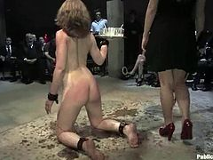 All the gathered people are fans of this gorgeous live sex theater actress Sarah Shevon. This time she is being a dirty sex slave!