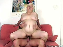 Slutty granny with huge belly fat and fat ass is brutally mouth fucked. Then she is penetrated in her clam in a missionary position. The guy pounds her muff hard. Later she jumps on a cock actively.