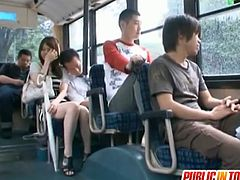 Yui Tatsumi was the only girl on this bus, so the guys took advantage and forced her to take their cocks.