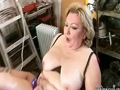 Bizarre granny with fat ass cum over and over