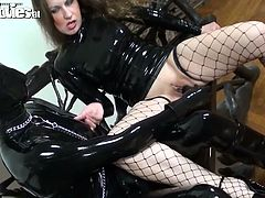 Latex bitch thrusts gigantic dildo toy in shaved pussy of one hussy brunette. This exciting and shocking sex video from Fun Movies is worthy of being seen.