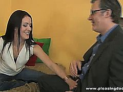 This young slut fucks her horny old landlord to pay the rent