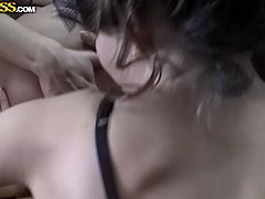 Two lesbians please each other on the kitchen table and third one tries to satisfy her pussy with banana. She spreads white stocking legs and masturbates.