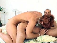Delicious short haired mom clings to tasty meaty dick of her young lover to suck it zealously before she tops it for a ride in reverse cowgirl style.