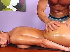 Sweet gal Aleksa Nicole visits Johnny Sins for an erotic massage. She rewards his skillful hands by receiving his hard dick deep down her tender mouth.