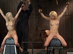 Blond sex slaves doing 69 in cage end fist fucked and tortured