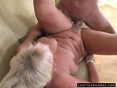 Well, this blond haired old slut goes wild. Obese horny bitch doesn't give a fuck to get a heart attack. She sucks a strong dick with delight and booty pale old whore begs to fuck her mature cunt from behind right on the small sofa.