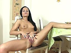 Drilling her own pussy with dildo
