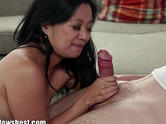 Lucky Starr is an Asian cock sucker. Dane Cross is a young dude who gets his cock sucked and tugged by this fierce milf.