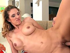 Attractive blonde MILF Roxanne Hall enjoys a fat cock in her shaved snatch. She rubs her clit while being boned and bends over for some doggy style plowing.